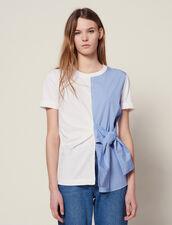 T-Shirt Bi-Matière À Nouer : T-shirts couleur Ecru