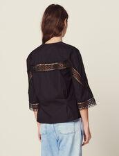 Top En Coton Manches 3/4 : Tops & Chemises couleur Noir