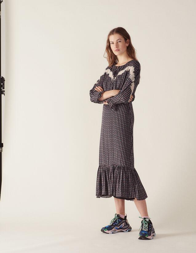 Robe Longue Imprimée Bohème : Robes couleur Noir
