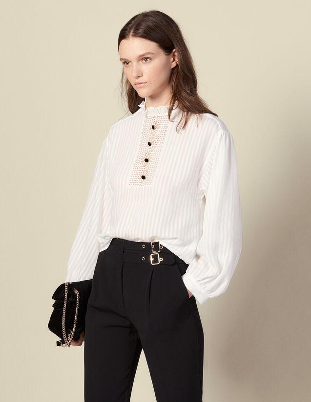Top en voile rayé à plastron : Tops & Chemises couleur Ecru