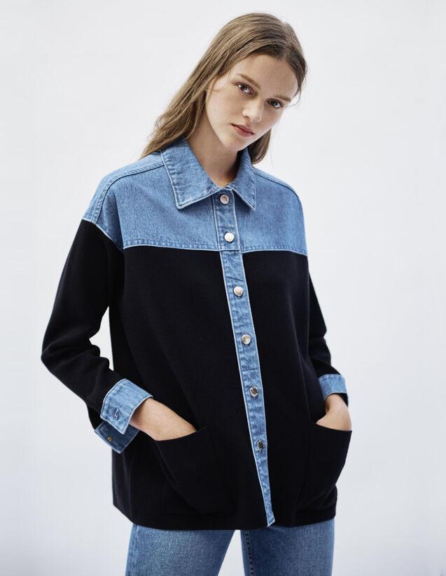 Cardigan Bi Matière Esprit Veste : Pulls & Cardigans couleur Deep Navy
