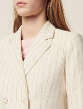 Veste De Tailleur À Fines Rayures : Blousons & Vestes couleur Blanc