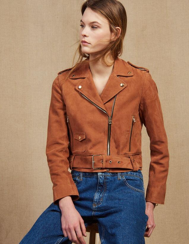 Blouson Perfecto En Daim : Blousons & Vestes couleur Terracotta