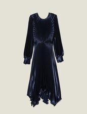 Robe plissée asymétrique : Robes couleur Marine