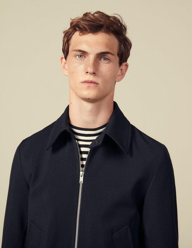 Blouson zippé en sergé de laine : Blousons & Vestes couleur Marine