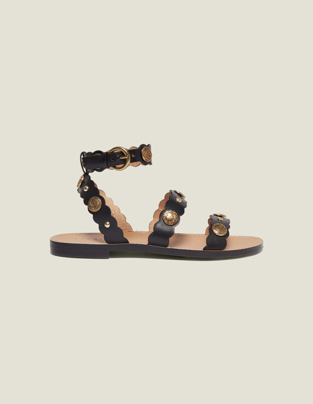 Sandales Plates Avec Rivets Décoratifs : Toutes les Chaussures couleur Noir