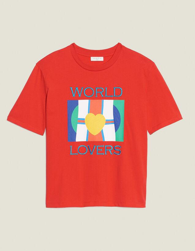 T-Shirt Avec Logo Drapeaux Et Broderie : T-shirts couleur Rouge