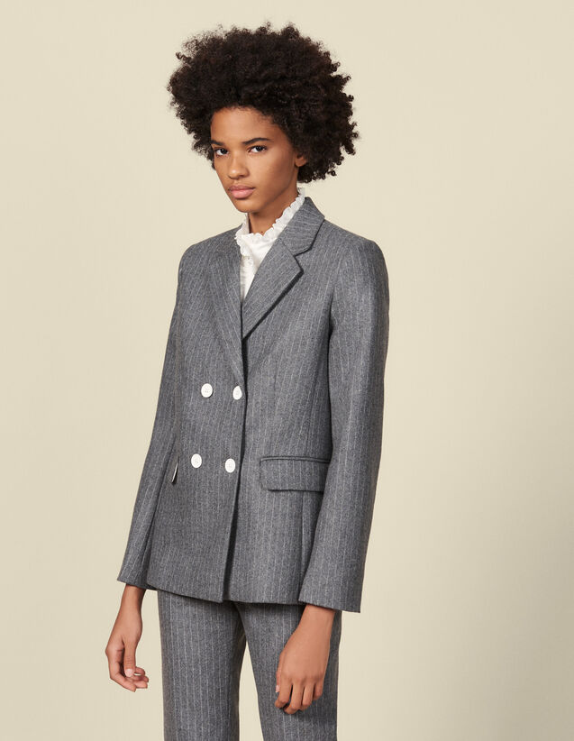 Veste de tailleur en flanelle : Blousons & Vestes couleur Gris