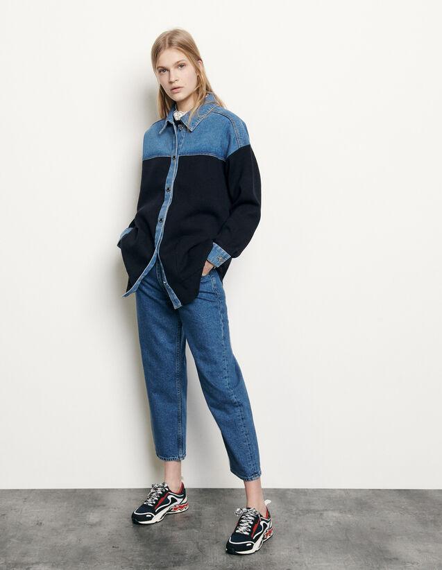 Cardi-coat bi-matière esprit veste : Pulls & Cardigans couleur Deep Navy