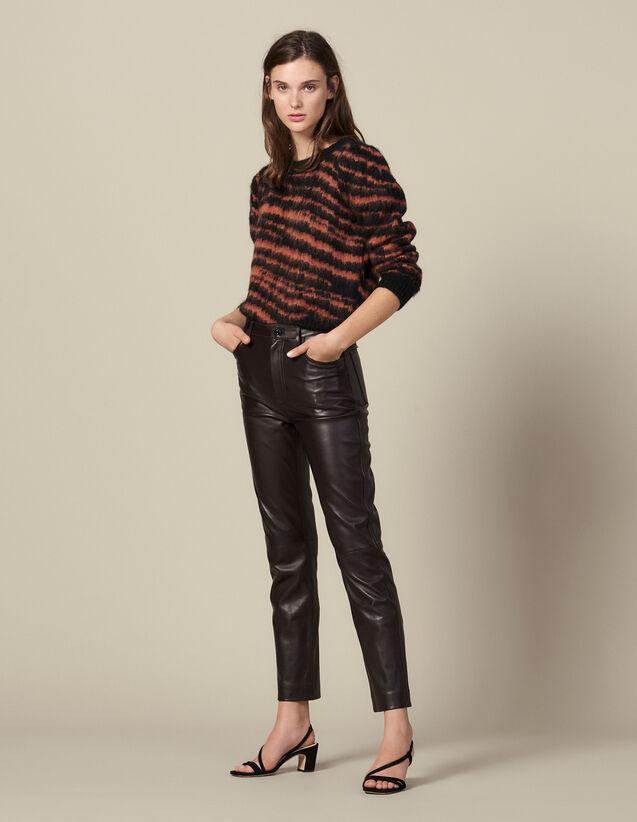 Pantalon en cuir droit à découpes : -30% couleur Marron