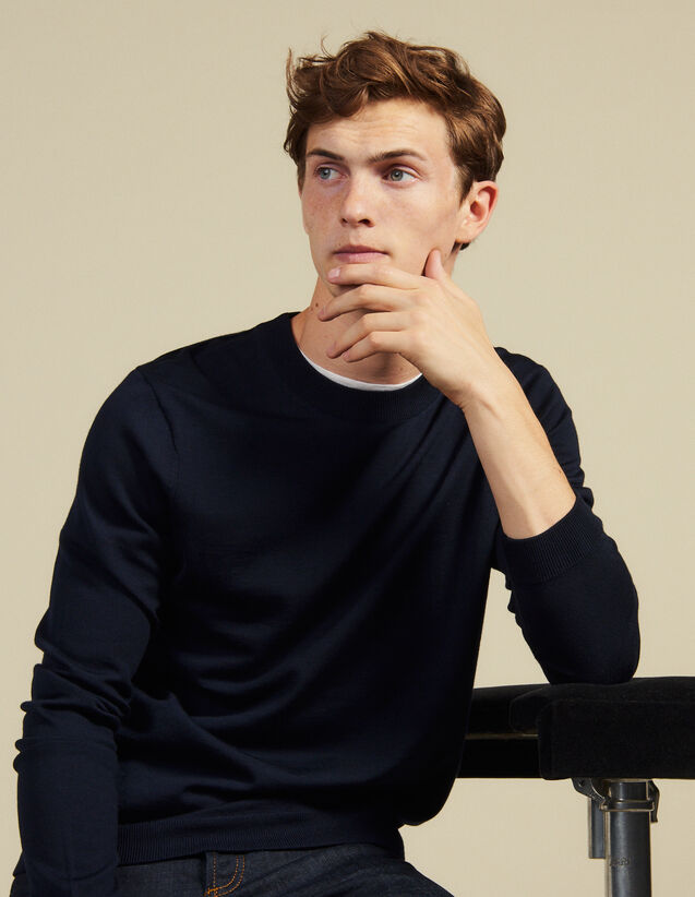 Pull En Maille Fine En Laine : Pulls & Cardigans couleur Marine