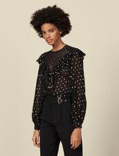 Top à motifs en lurex : Tops & Chemises couleur Noir