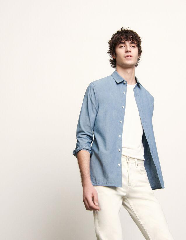 Chemise en chambray : Chemises couleur Bleu