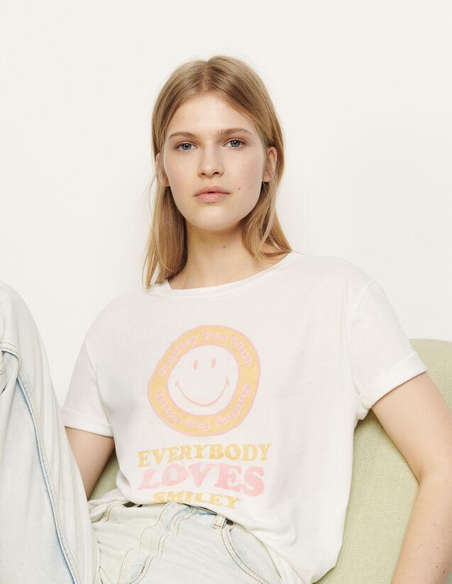 T-shirt à motif floqué : T-shirts couleur Blanc / Jaune