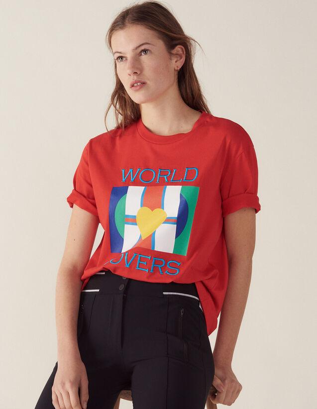 T-Shirt Avec Logo Drapeaux Et Broderie : Sélection Last Chance couleur Rouge