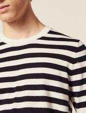 Pull Marinière En Coton Et Cachemire : Pulls & Cardigans couleur Ecru
