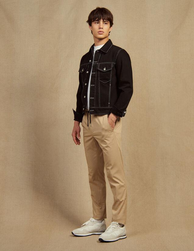 Pantalon Taille Élastique En Coton : Pantalons & Shorts couleur Beige