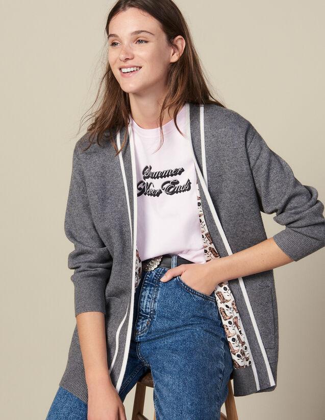 Cardi-coat à doublure imprimée : Pulls & Cardigans couleur Gris