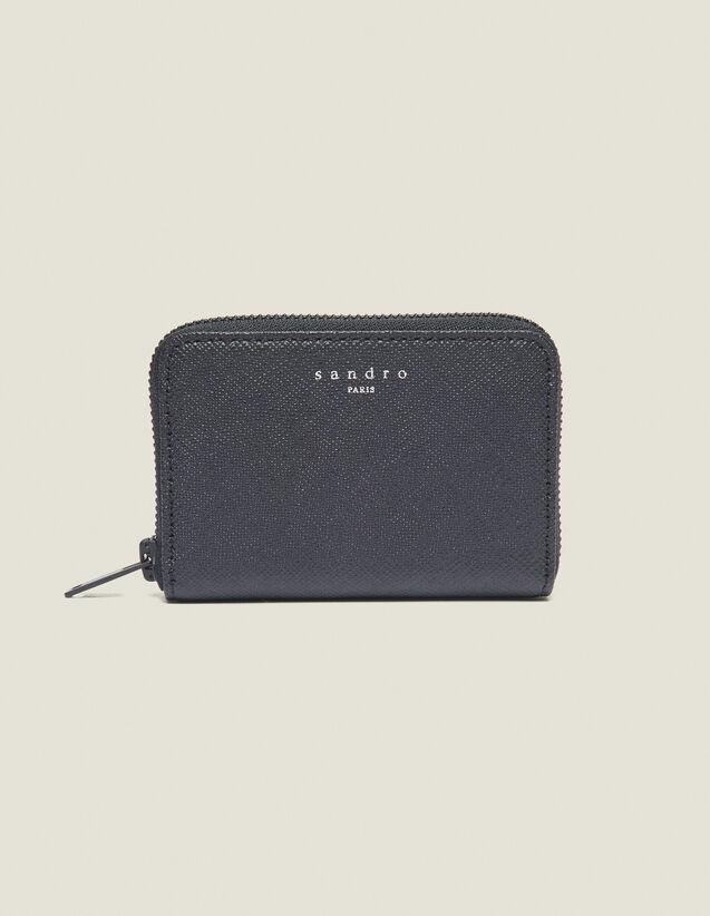 Porte Carte Zippé En Cuir Saffiano : Collection Été couleur Noir