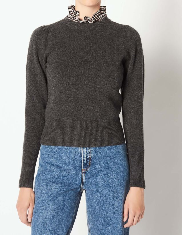 Pull en laine avec col en tissu   Pulls   Cardigans couleur Gris Chiné dd43b5ded92c