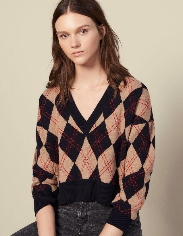 Pull col V en jacquard surpiqué : Pulls & Cardigans couleur Multicolore