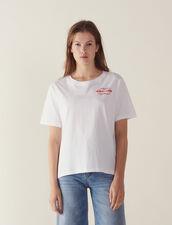 T-Shirt  À Message Flocké : T-shirts couleur Blanc