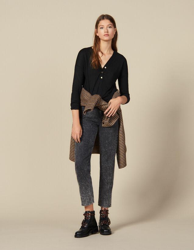 T-Shirt En Lin Manches Longues : T-shirts couleur Noir