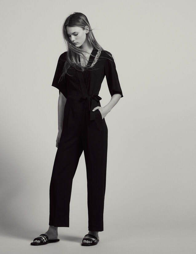 Combinaison Pantalon Cache-Cœur : Pantalons couleur Noir