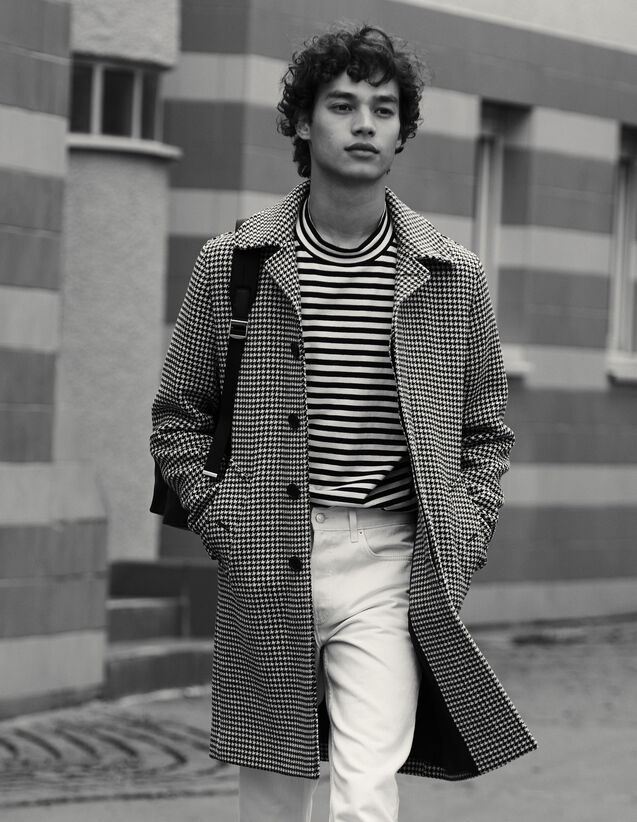 Manteau Pied De Poule : Trenchs & Manteaux couleur Noir/Blanc