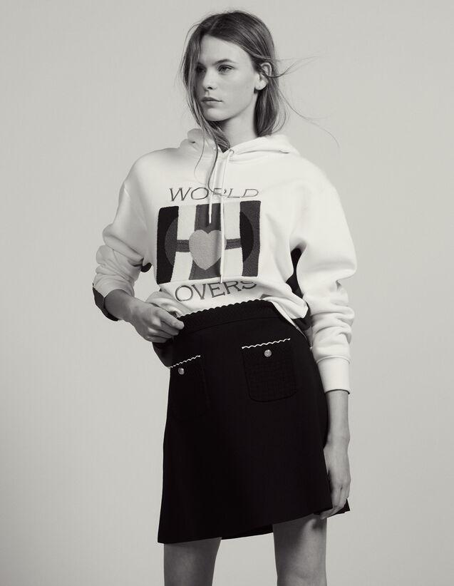 Jupe En Maille Ornée De Boutons Bijoux : Jupes & Shorts couleur Noir