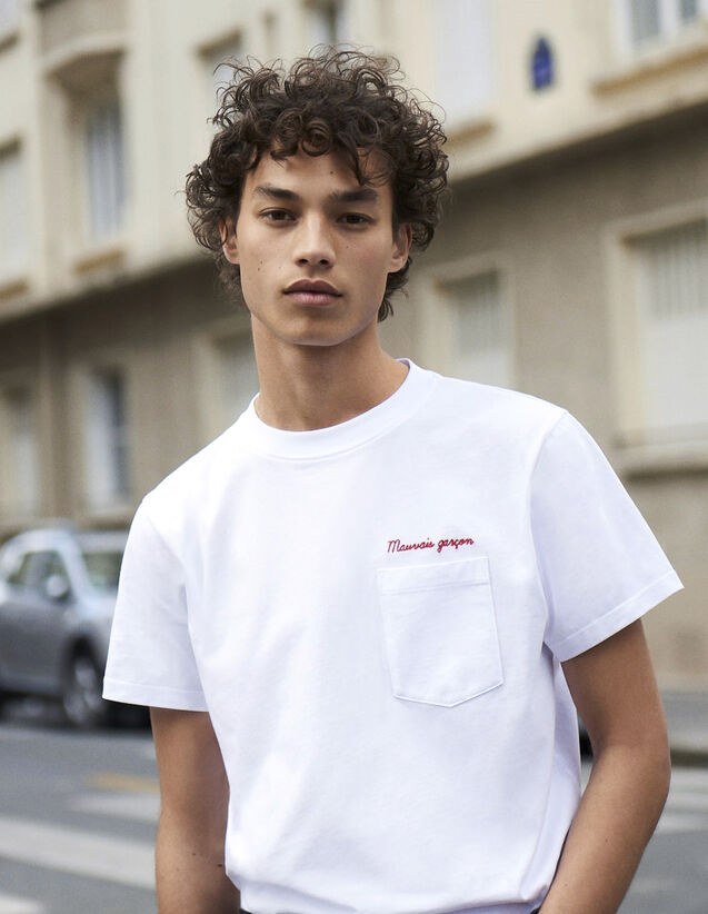 T-Shirt À Message En Coton : Collection Hiver couleur Marine