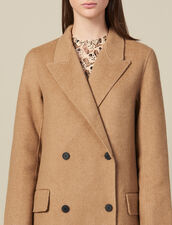 Manteau Long En Laine Double Face : Manteaux couleur Beige Chiné