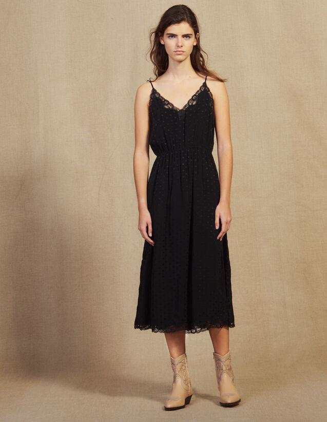 Robe Lingerie En Jacquard Ton Sur Ton : Robes couleur Noir