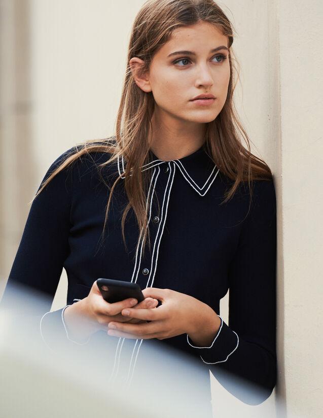 Cardigan court effet chemise : Pulls & Cardigans couleur Marine