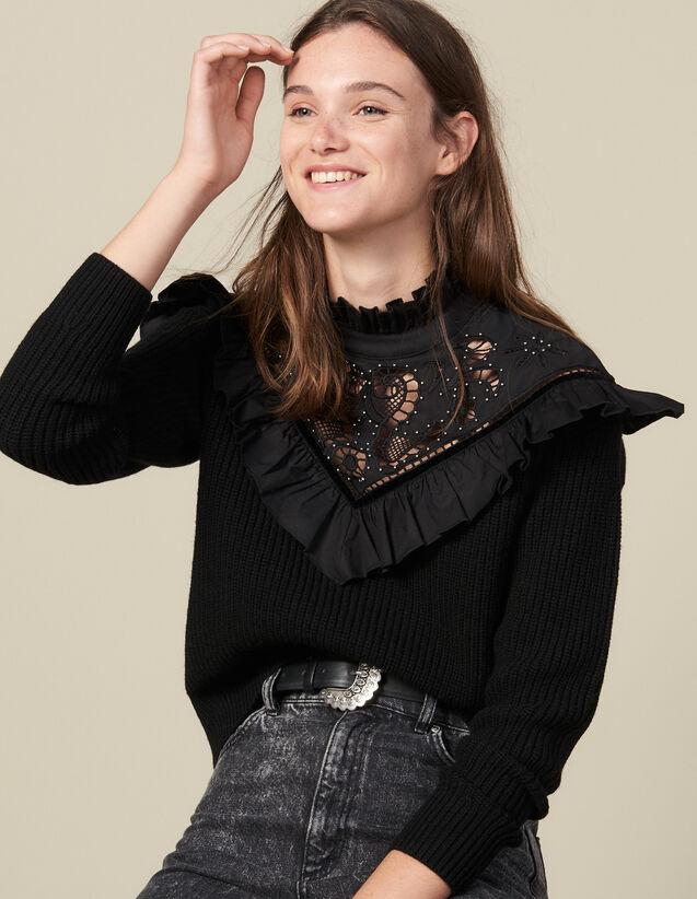 Pull Avec Plastron En Broderie Anglaise : Pulls & Cardigans couleur Noir