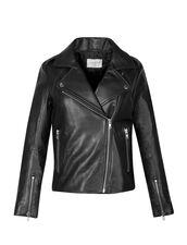 Blouson biker en cuir : Blousons & Vestes couleur Noir