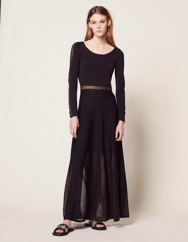 Robe Longue En Maille Avec Dos Ouvert : Robes couleur Noir