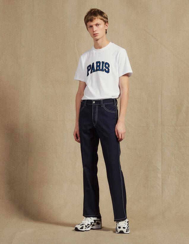 Pantalon Avec Surpiqures Contrastées : Sélection Last Chance couleur Marine
