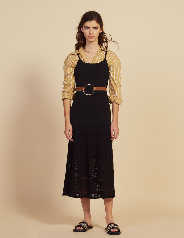 Robe Longue En Maille Et Crochet : Robes couleur Noir