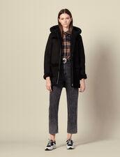 Manteau long en peau lainée à capuche : Manteaux couleur Noir