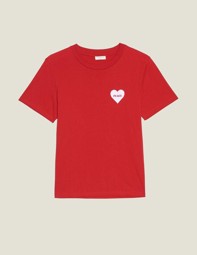 T-Shirt En Coton Avec Cœur Floqué : T-shirts & Polos couleur Rouge