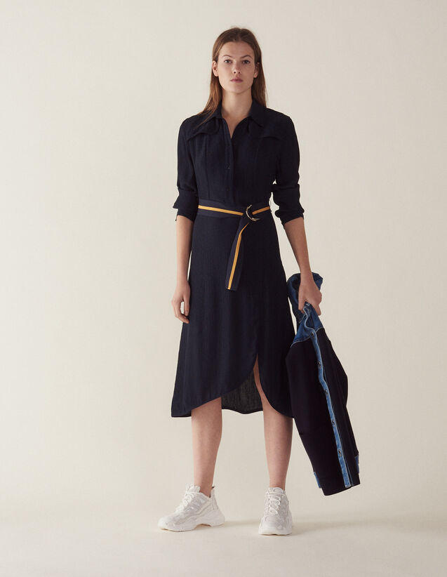 Robe Chemise Longue : Robes couleur Marine