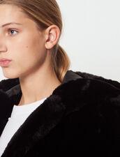Veste À Capuche En Fausse Fourrure : Blousons & Vestes couleur Noir