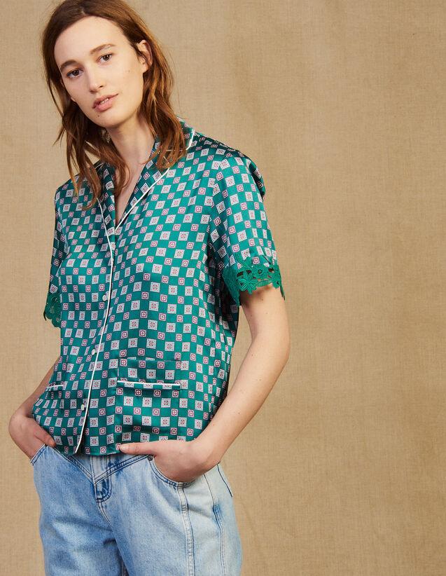 Chemise Pyjama Imprimée : Chemise imprimée couleur Vert