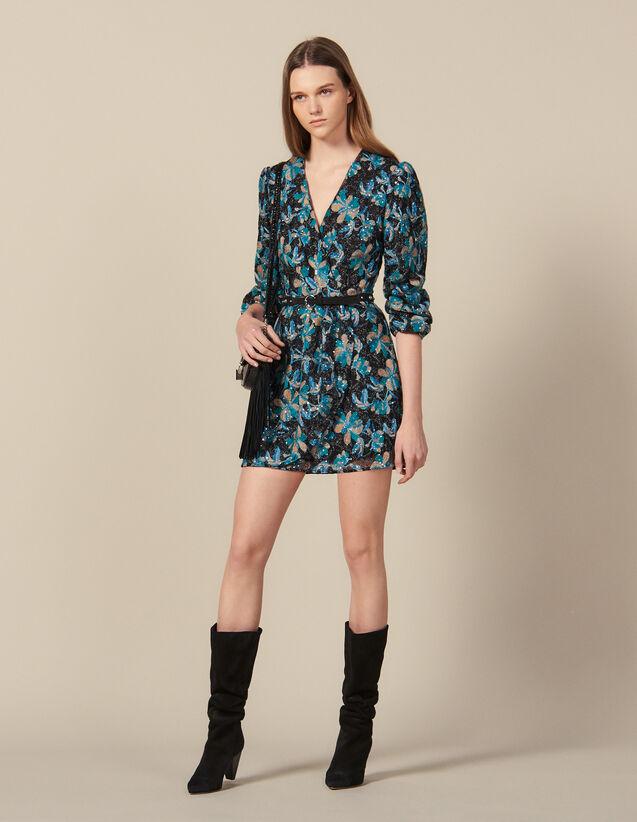 Robe En Tulle Brodée De Sequins : Tout le Prêt-à-Porter couleur Noir/turquoise