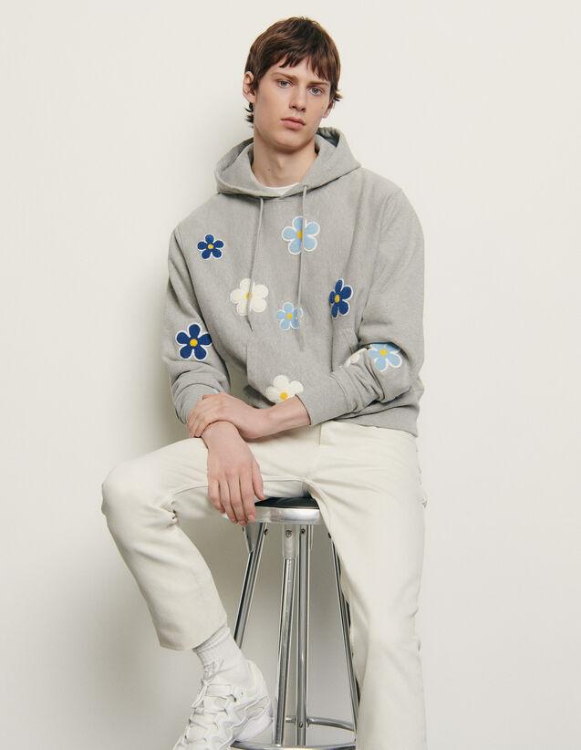 Hoodie avec patch brodé : Sweats couleur Gris Chiné