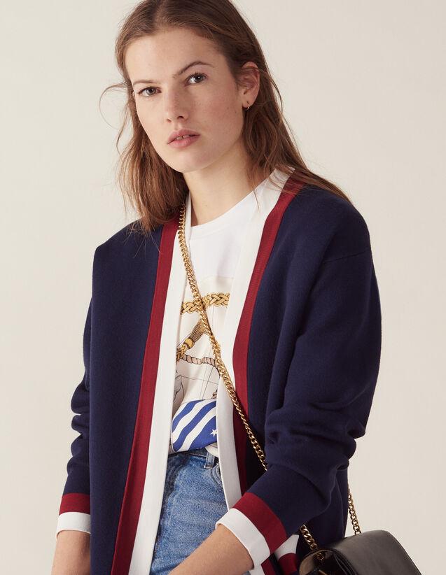 e9a7585ca0 Cardigan En Maille Fine Esprit College : Pulls & Cardigans couleur Marine