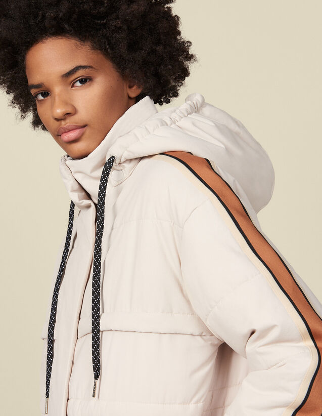 Doudoune ornée de galons contrastés : Manteaux couleur Ecru