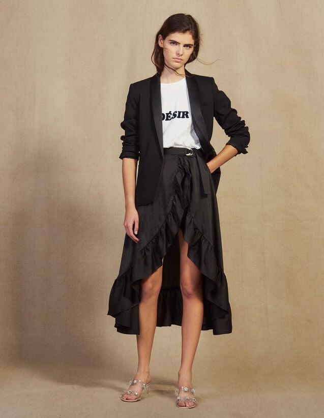 Jupe-Short Asymétrique Et Volantée : Jupes & Shorts couleur Noir