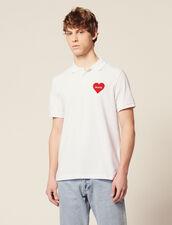 Polo En Piqué De Coton, Cœur Floqué : T-shirts & Polos couleur Blanc